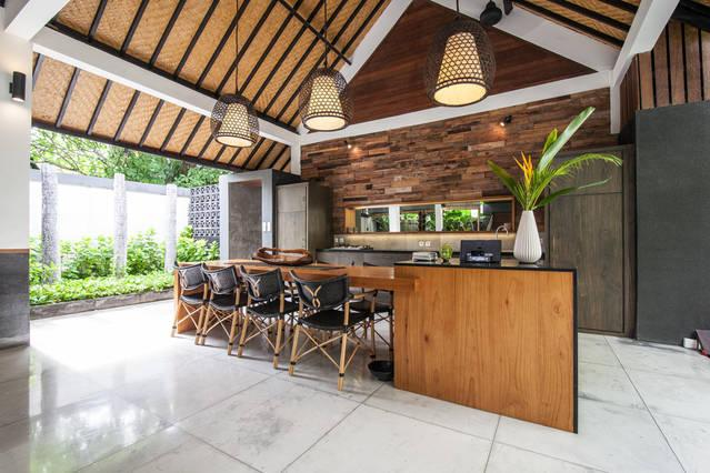 Designer European kitchen with plenty of seating.