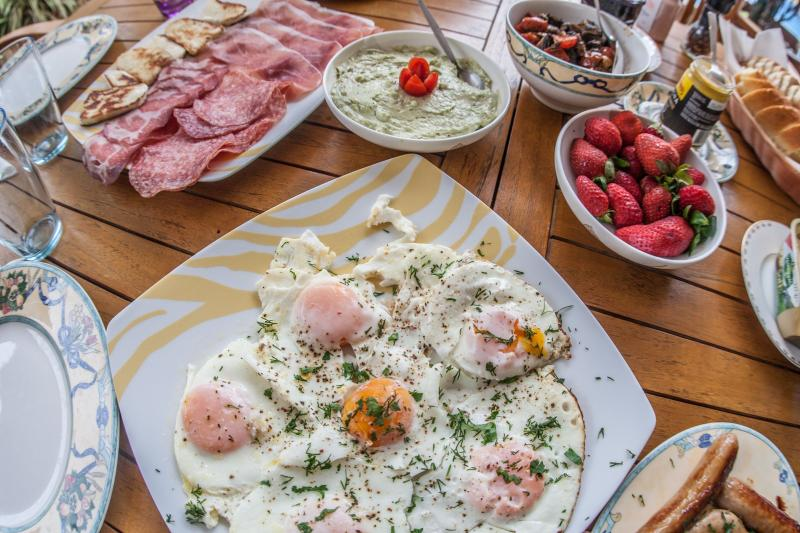 Breakfast made with organic products from village shops