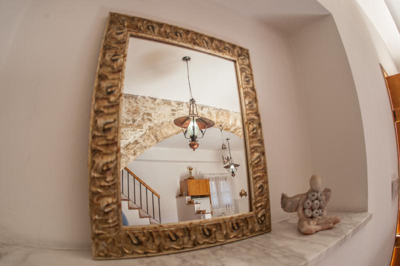 Decorative vintage mirror in living room
