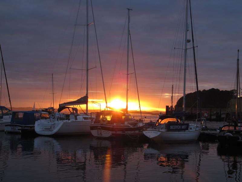 a view from Ferry Lodge - Portaferry Marina and Sunset over Strangford Lough