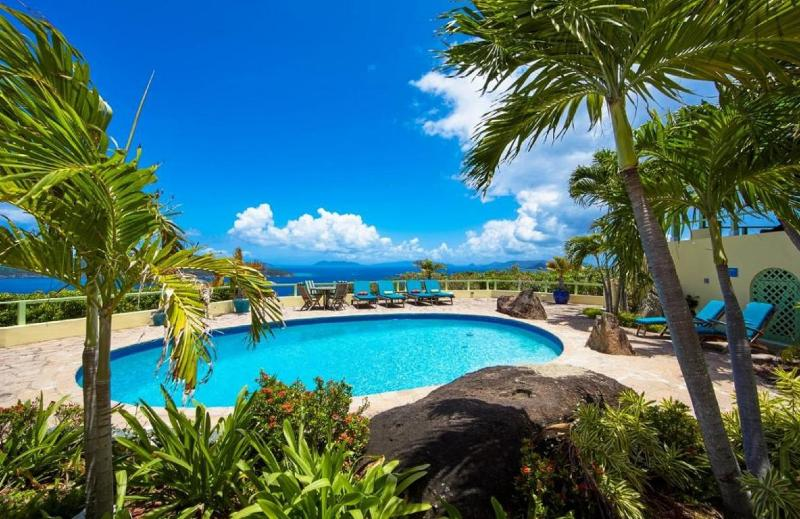 Beautiful views from the pool overlooking British Virgin Islands. Perfect for soaking up the sun!