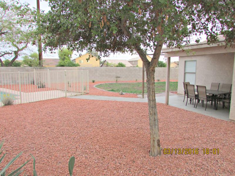 A lot of space in the private backyard