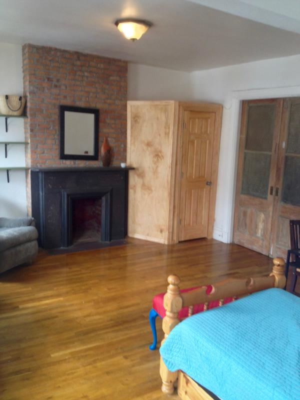 Fireplace, closet, pocket doors leading to living room
