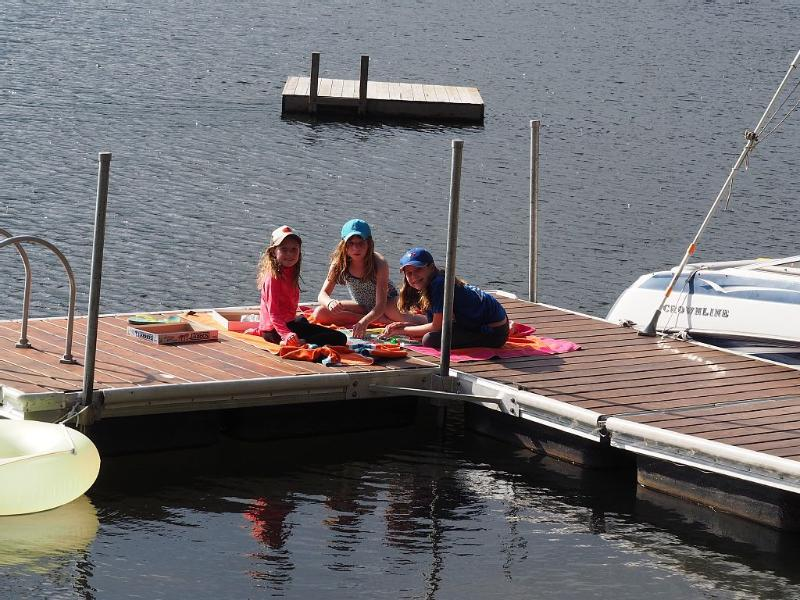 Playing board games on the dock