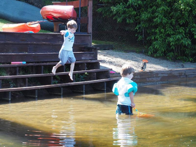 Stairs and sandy bottom make lake access a breeze for kids