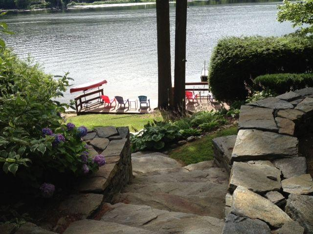 Stone steps from house to lake