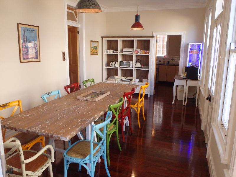 The dining room is bright and airy.