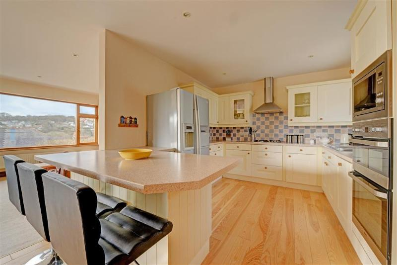 Light modern well equipped kitchen with breakfast bar