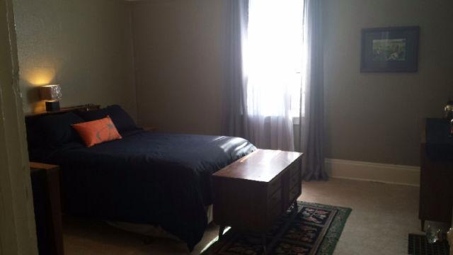 Newer boxspring &mattress, cotton sleep sets in summer & flanellette sleep sets in winter. Spacious