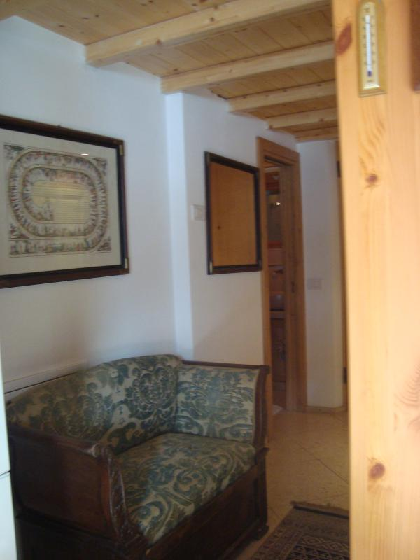 ENTRANCE WITH ANCIEN PAINTS AND SOFA OF XVIII CENTURY