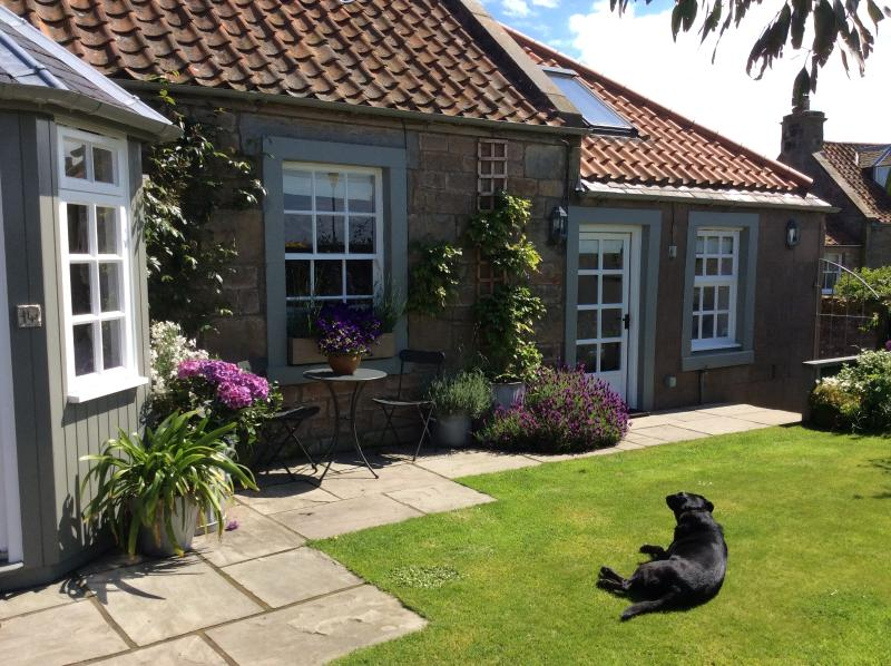 Westbourne Cottage from the garden - with our lovely dog Sam