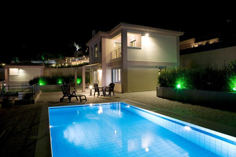 Front Panel of Villa - Swimming Pool -  Garden - Sunbeds