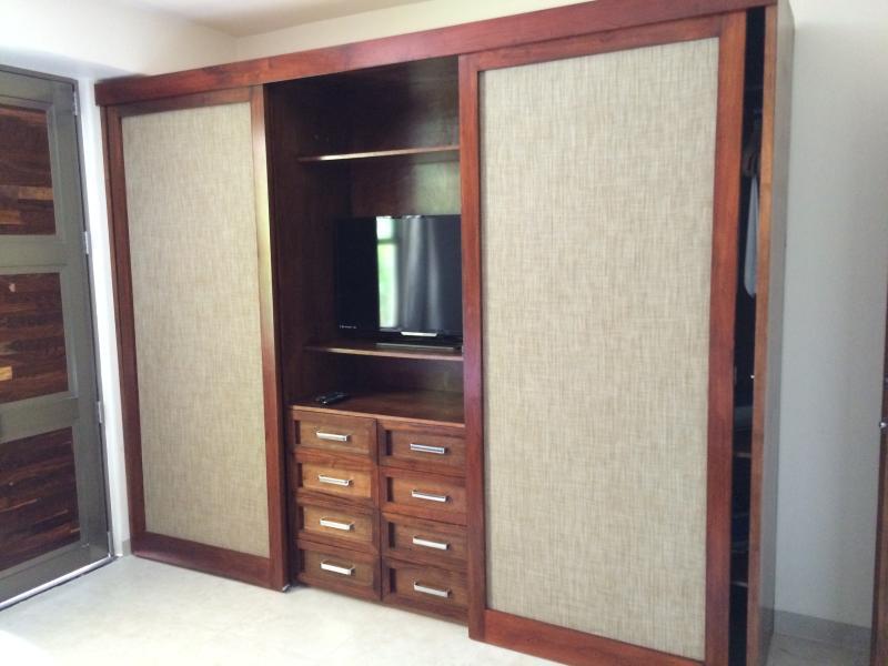 Closet, safe and tv.