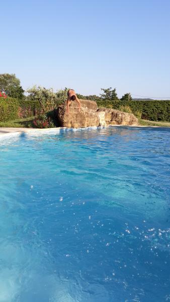 La piscine avec ses rochers en bordure pour les plongeons