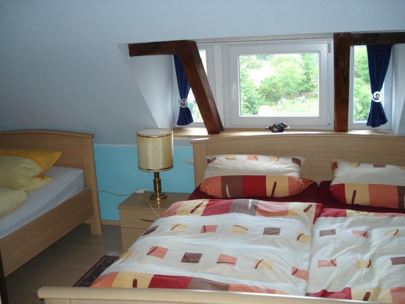 Doppel- und Einzelbett im Schlafzimmer
