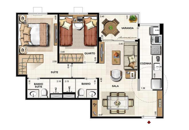 Apto com 2 qtos, 2 banheiros, sala e cozinha completa.