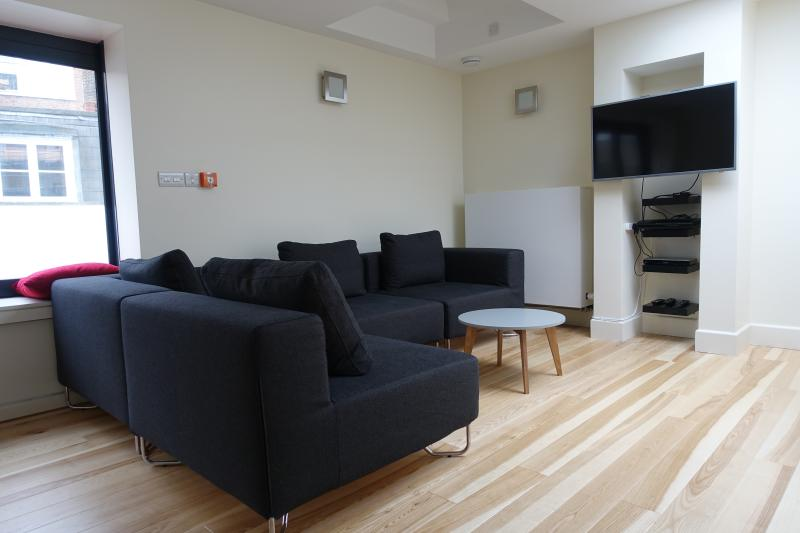 Sofa seats 6 comfortably with TV/dvd in this loft-style living space with views across the rooftops.
