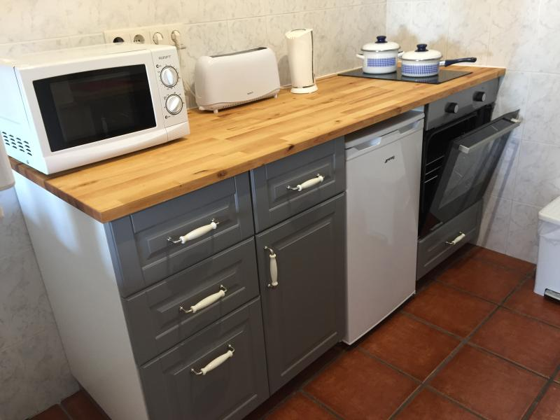 Kitchen with oven, hob, fridge, microwave, toaster and all bits and bobs