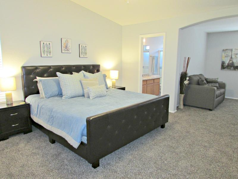 Master bedroom w/ king size bed and walk-in closet