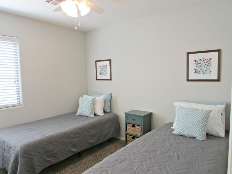 Guest bedroom #2 w/ twin XL size memory foam mattresses (combine to make a king)