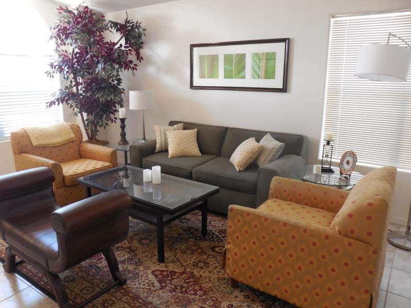 Living Room filled with light. Small wine bar. Den/OFC. is adjacent with Desk, 2 lounge chairs & TV