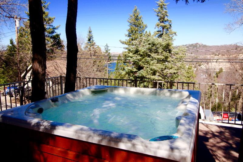 Hot tub on the deck with view of Lake Arrowhead