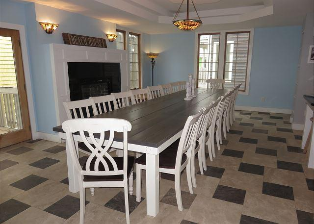 Custom dining table and fireplace