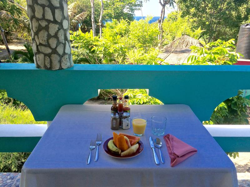 Enjoy breakfast or any meal on the 2nd floor veranda! Fresh fruit in the morning is the best!