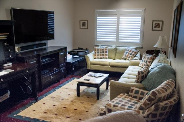 Quiet den area with large screen tv with premium channels and netflix. High speed internet and print