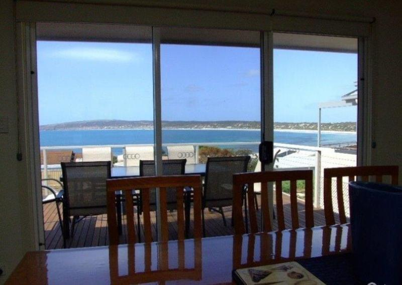 Expansive views of Emu Bay from the dining table at Elanora