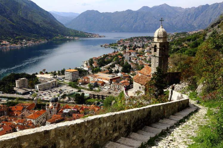 Kotor's beautiful Old Town from fortress walk
