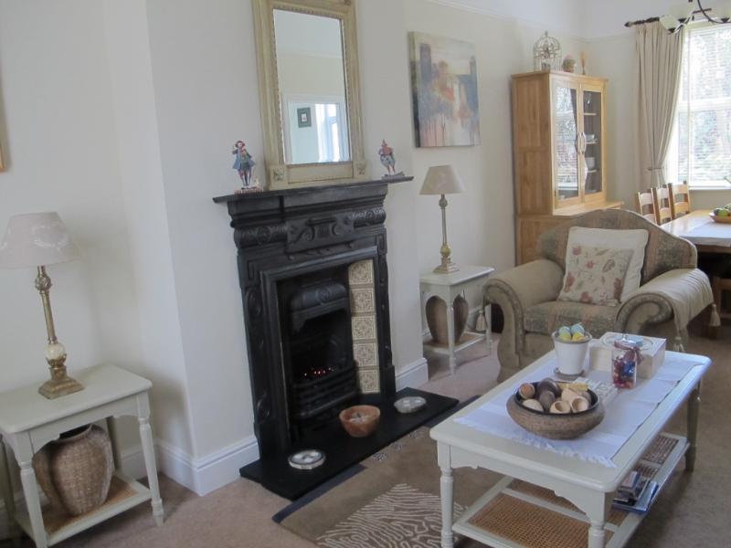 Amplio salón de planta abierta y área de comedor con elegantes muebles de roble y finos.