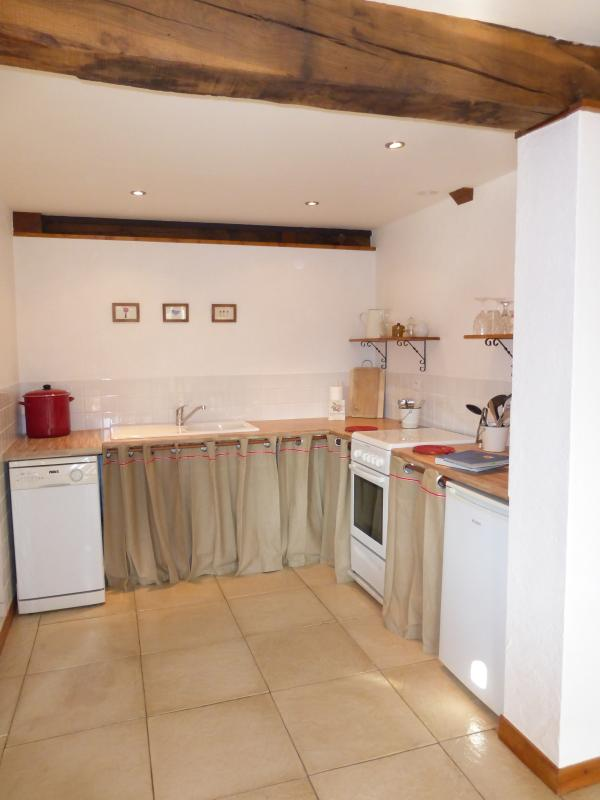 Fully equipped country-style kitchen includes a dishwasher