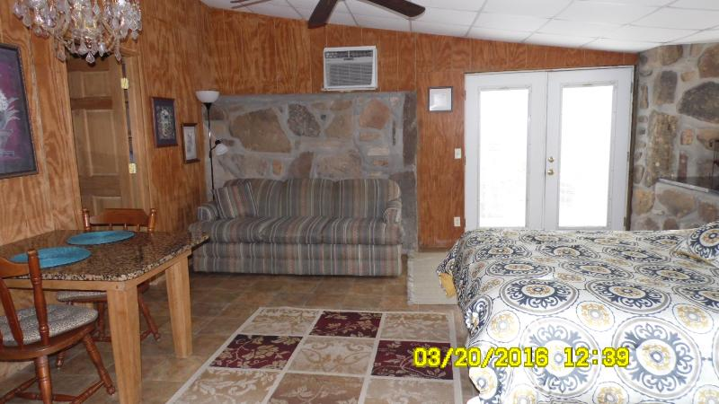 Plenty of room to relax and watch TV or have a romantic dinner.