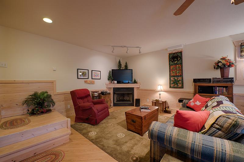 Recreation area with fireplace and TV
