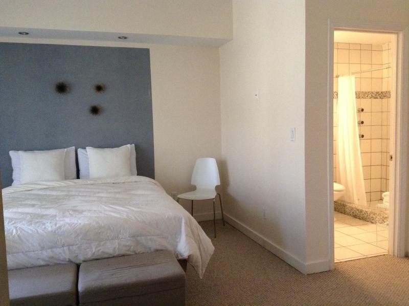 En suite private bathroom with shower jets!