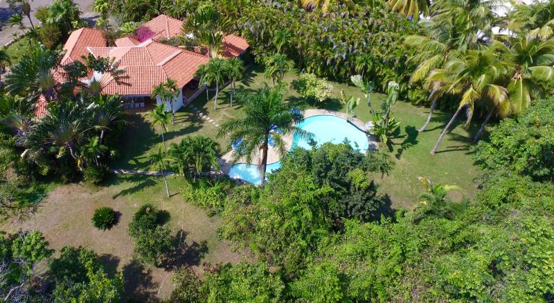 Spectacular villa with large private pool and secluded lawned garden, only 2 mins' walk to beach