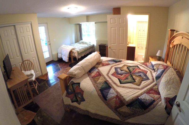Granny quarters--a queen bed and full futon.