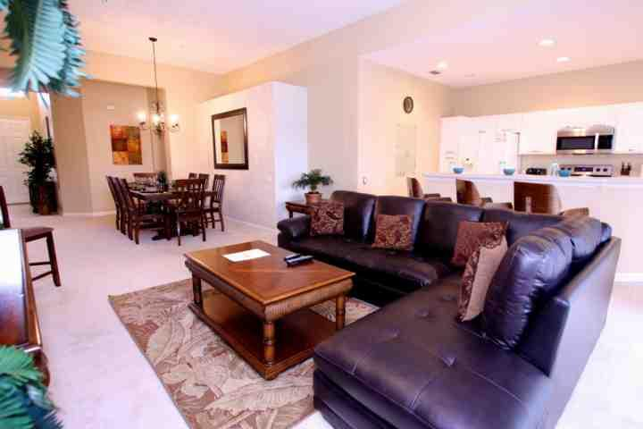 Open Floor Plan - Living Area, Dining Area & Kitchen w/Pool Access
