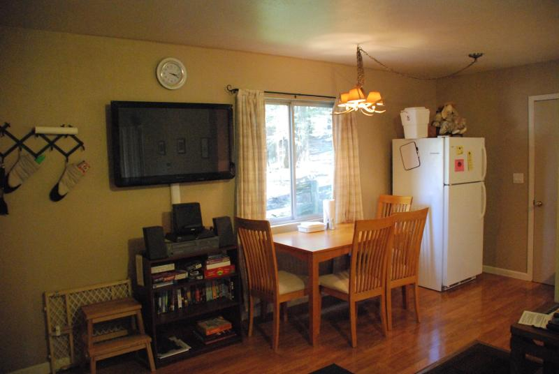 The dining area is comfortable & includes a full-size refrigerator