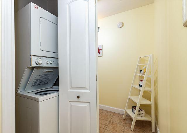 For your convenience, the condo has a stacked washer/dryer unit