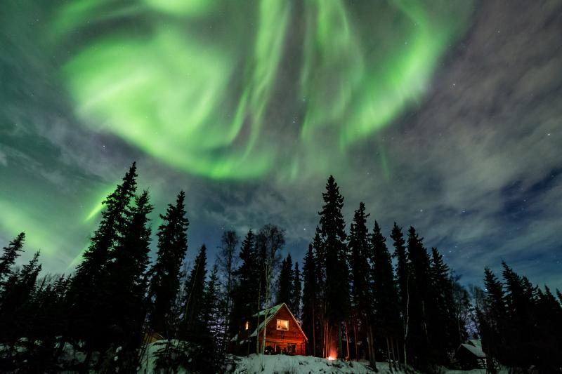 Northern Lights over Moose Walk Cabin.