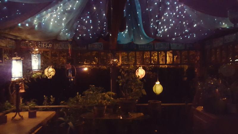 The gazebo at night.