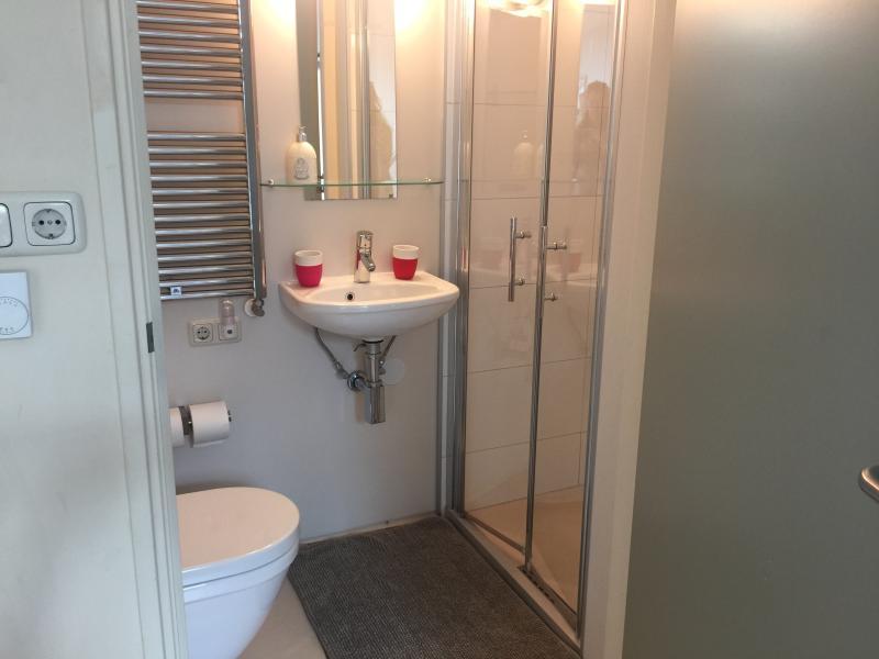cuarto de baño con WC y ducha en la habitación al este