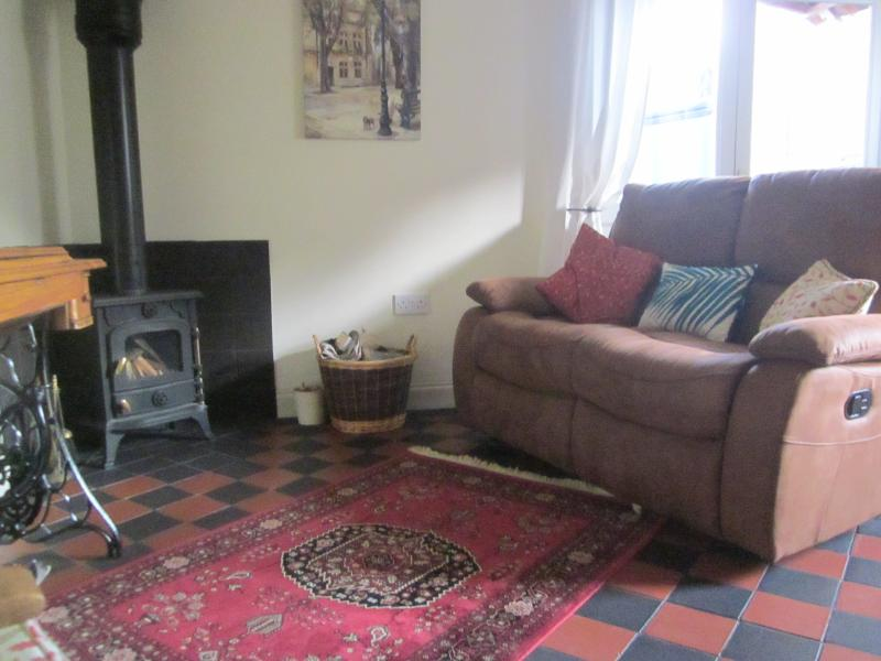 Comfy recliner sofa and underfloor heated quarry tiles