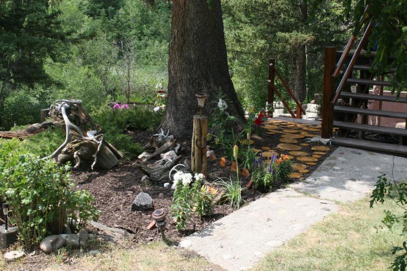 our little walk path and flower garden