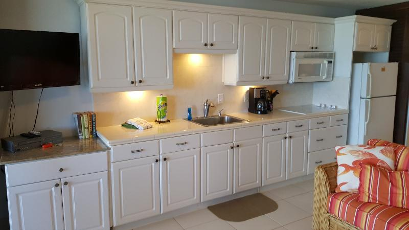 The kitchen-we have upgraded to a new Maytag refrigerator & have a toaster oven as well.