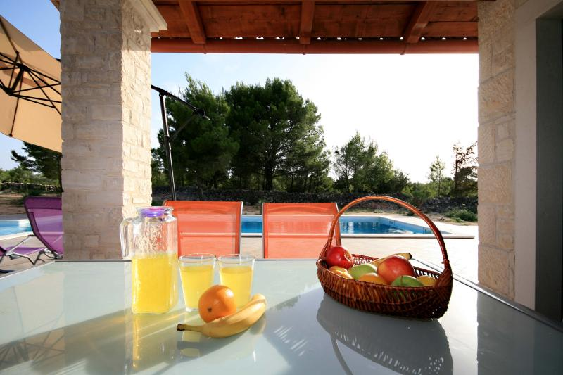 Fruits are always refreshing after swimming in pool