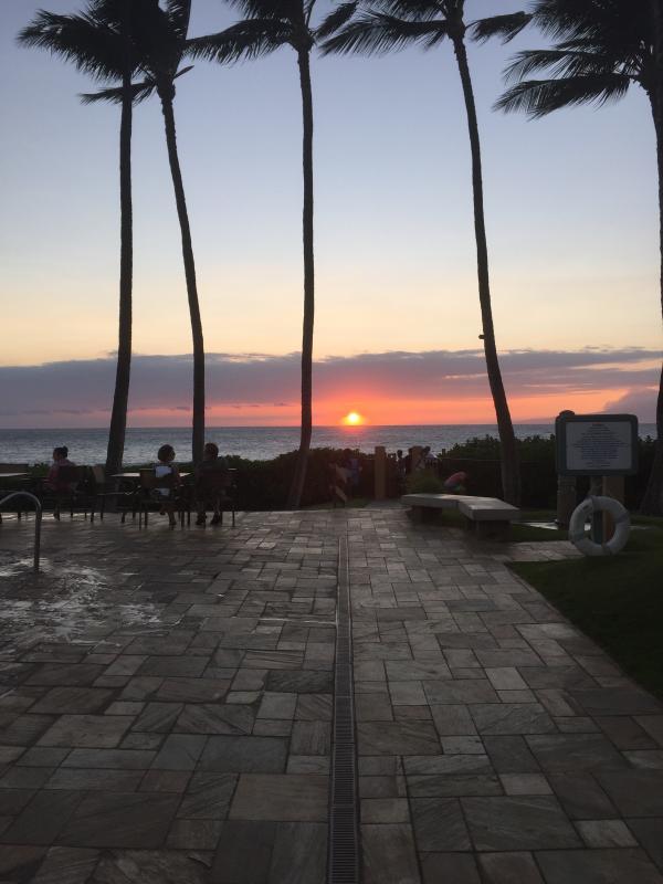 Sunset from beach pavilion