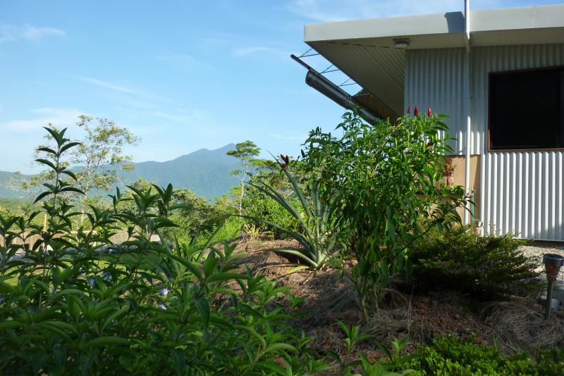 Side view of the bungalow with Thorntons Peak in the background.